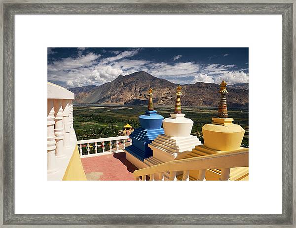 Framed Print featuring the photograph Diskit Gompa by Whitney Goodey