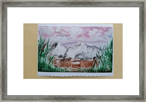 Distant Impressionistic Mountains Framed Print