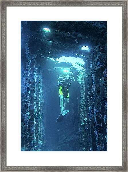 Framed Print featuring the photograph Diver In The Patris Shipwreck by Milan Ljubisavljevic