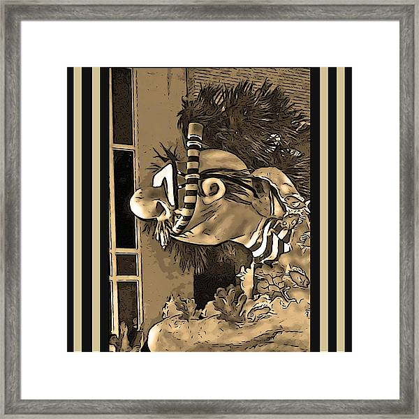 Diving The Great Barrier Reef In Black And White And Sepia Tones Framed Print