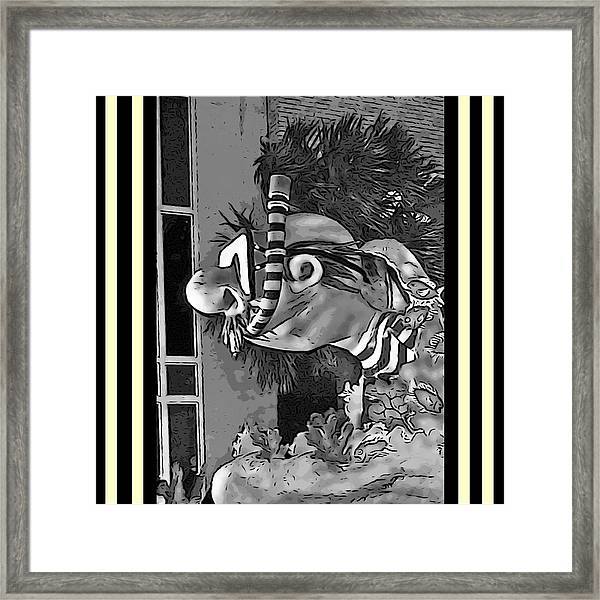 Diving The Great Barrier Reef In Black And White Framed Print