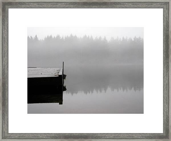 Dock On Foggy Lake Framed Print