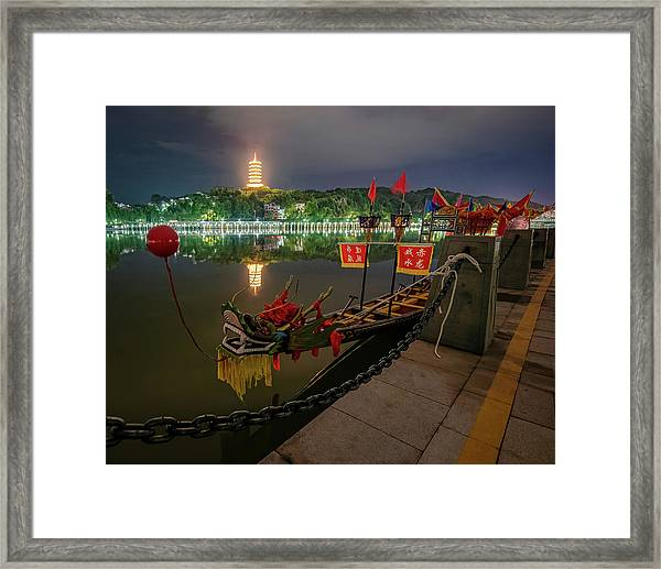 Framed Print featuring the photograph Docked Dragon Boat At Night I by William Dickman