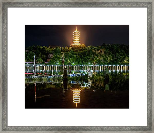Framed Print featuring the photograph Docked Dragon Boat At Night IIi by William Dickman