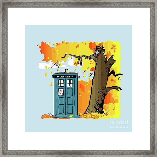 Doctor Who X Calvin And Hobbes Framed Print