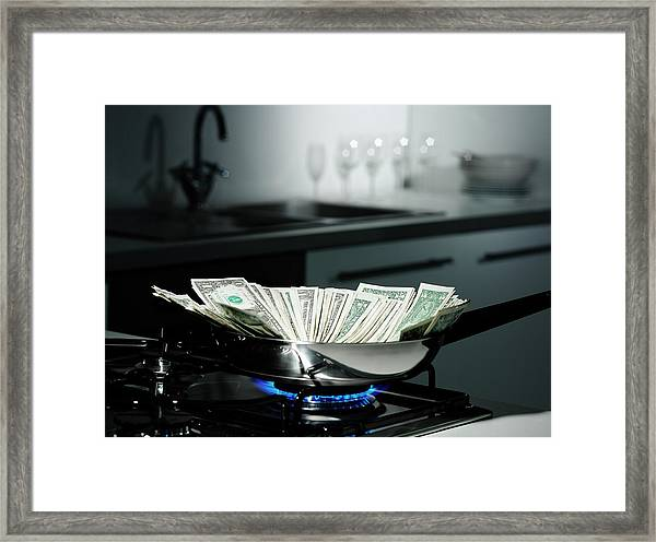 Dollar Bills In Frying Pan On Stove Framed Print