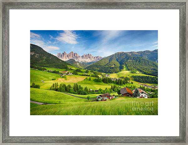 Dolomites Alps, Mountain - Val Di Funes Framed Print