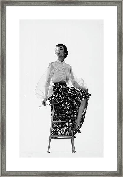 Dorian Leigh Models Framed Print by Gjon Mili