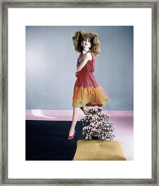 Dorothea Mcgowan Wearing Galanos Framed Print by Horst P. Horst