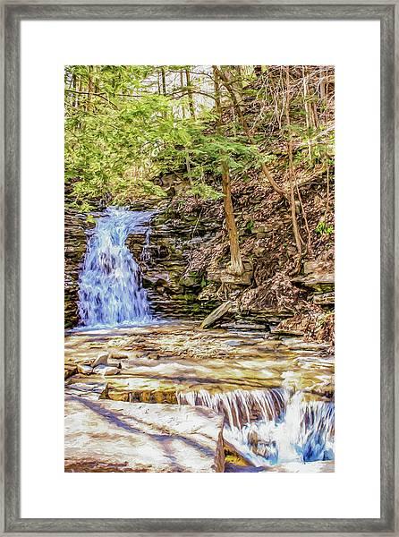 Double Cascade Waterfalls Framed Print