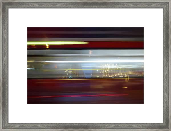 Double Decker Bus Blur 2 Framed Print