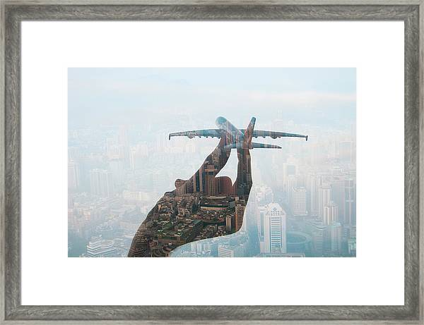 Double Exposure Of Hand Holding Model Framed Print by Jasper James