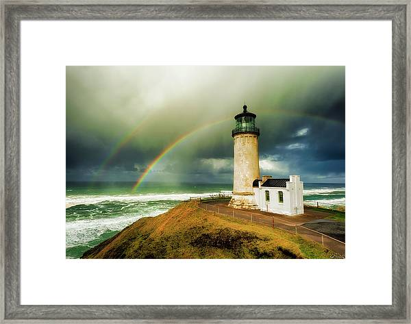 Framed Print featuring the photograph Double Rainbow At North Head Lighthouse by Dee Browning