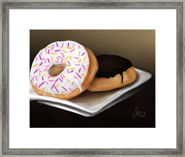 Framed Print featuring the painting Doughnut Life by Fe Jones