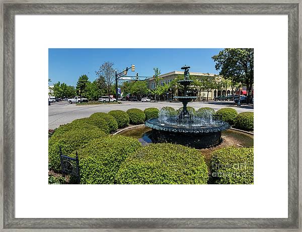 Downtown Aiken Sc Fountain Framed Print