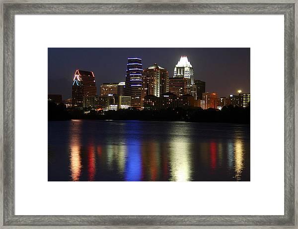 Downtown Austin Skyline Framed Print by Xjben