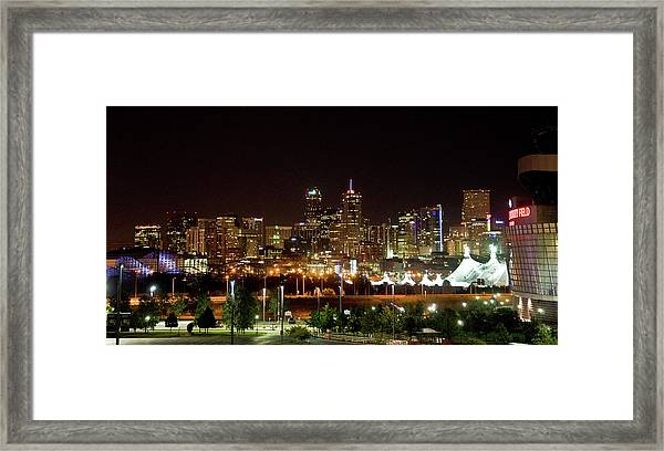 Framed Print featuring the photograph Downtown Denver At Night by Chance Kafka