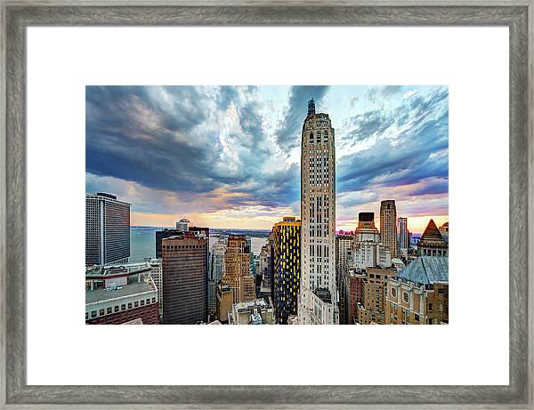 Downtown Manhattan And New York Harbor Framed Print
