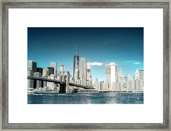 Downtown Manhattan View From Dumbo Framed Print by John Rizzuto