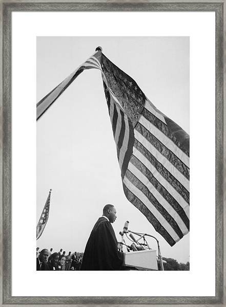Dr. King Delivers Give Us The Ballot Framed Print