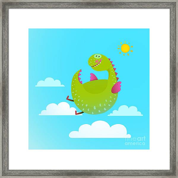 Dragon Flying In Sky Colorful Cartoon Framed Print