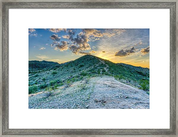 Dramatic Mountain Sunset Framed Print