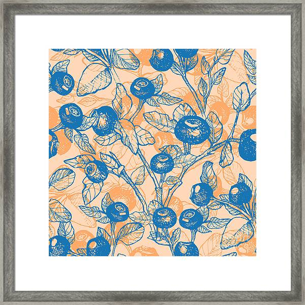 Drawn Hand Blueberry Twigs With Framed Print
