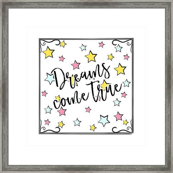 Dreams Come True - Baby Room Nursery Art Poster Print Framed Print