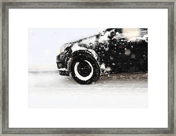 Driving In Snow Framed Print