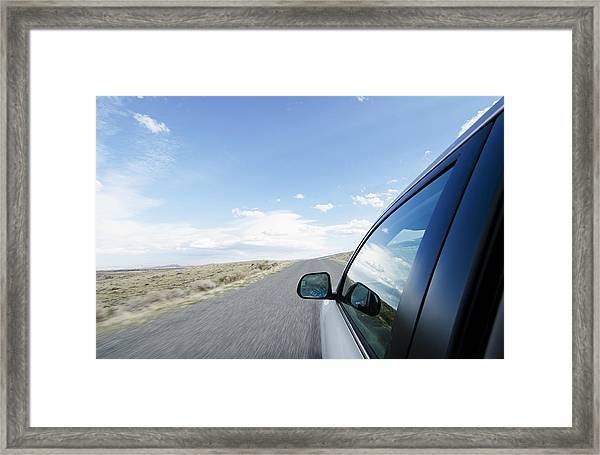 Driving On Wyoming Road Framed Print