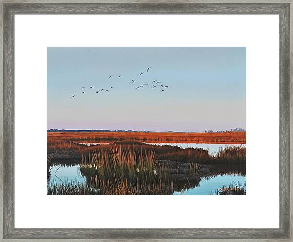 Dropping In - Teal Framed Print
