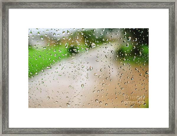 Drops Of Rain On An Autumn Day On A Glass. Framed Print