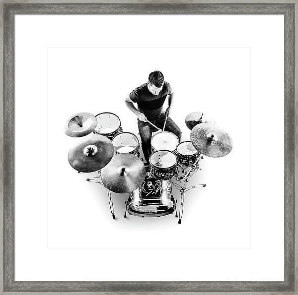Drummer From Above Framed Print