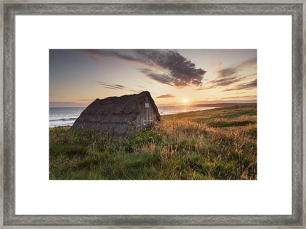 Framed Print featuring the photograph Drying Hut - Freshwater West by Elliott Coleman