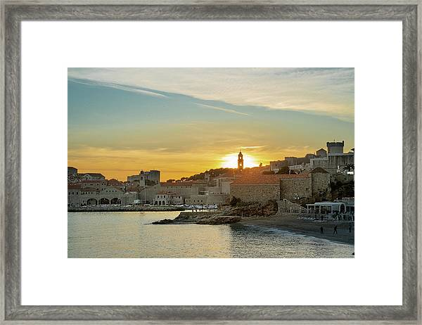 Framed Print featuring the photograph Dubrovnik Old Town At Sunset by Milan Ljubisavljevic