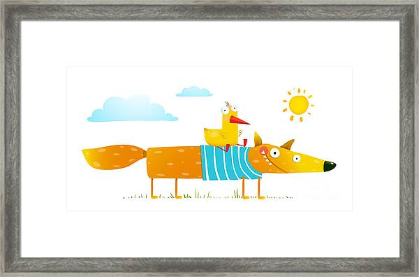 Duck Sitting On Fox Friends. . Animal Framed Print