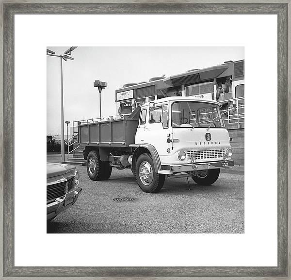 Dump Truck On Parking Lot, B&w Framed Print