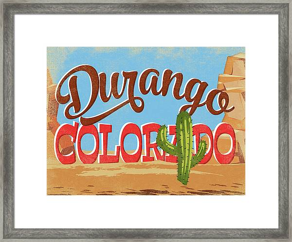 Durango Colorado Cartoon Desert Framed Print