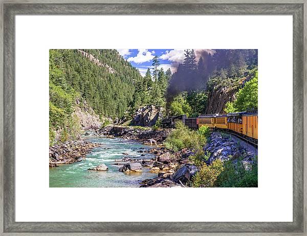 Durango Silverton Colorado Train Along The Animas River Framed Print
