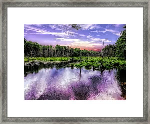 Dusk Falls Over New England Beaver Pond. Framed Print