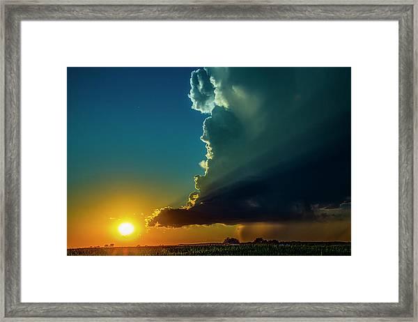 Dying Nebraska Thunderstorms At Sunset 068 Framed Print