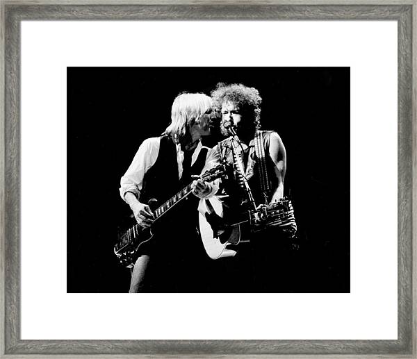 Dylan & Petty True Confessions Tour Framed Print by Larry Hulst