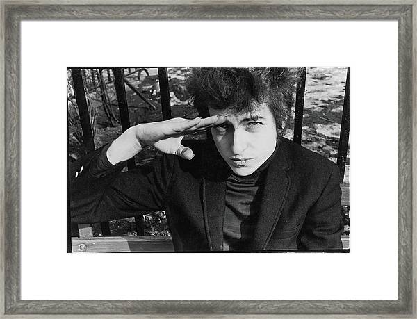 Dylan Salutes In Sheridan Square Park Framed Print
