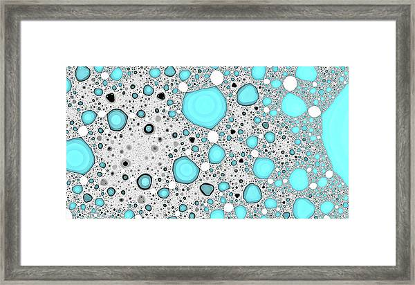 Dynamic Moonscape Blue Abstract Art Framed Print