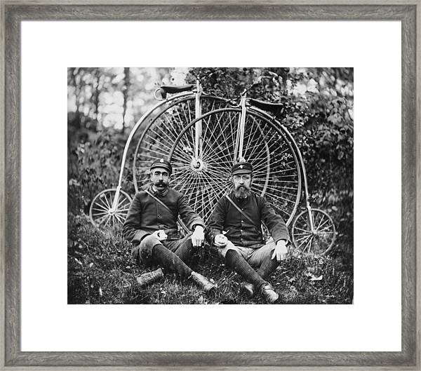 Early Bicyclists Taking A Break By Framed Print by Bettmann