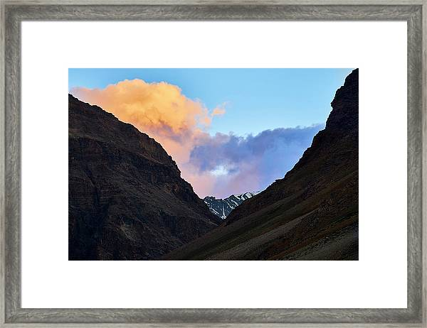 Framed Print featuring the photograph Early Morning Clouds In Sarchu by Whitney Goodey
