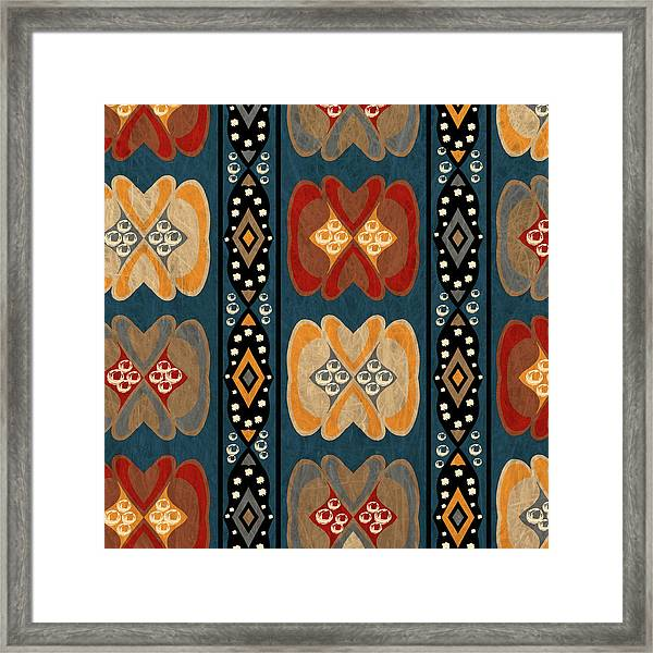East African Heart And Diamond Stripe Pattern Framed Print