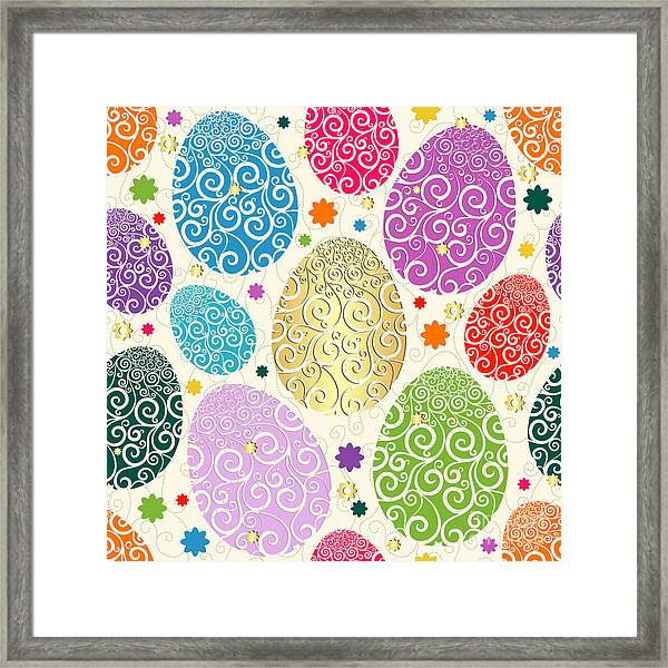 Easter Seamless Pattern With Colorful Framed Print