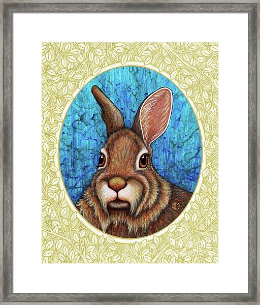Framed Print featuring the painting Eastern Cottontail Portrait - Cream Border by Amy E Fraser