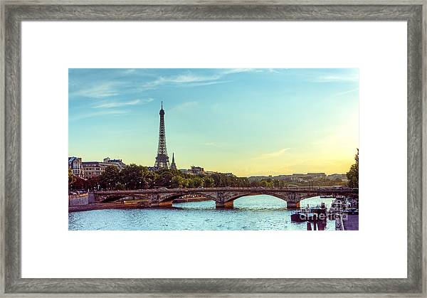 Eiffel Tower And Seine River Panoramic Framed Print